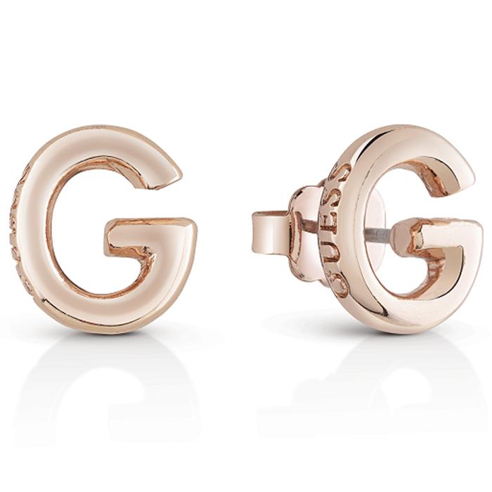 Ροζ gold σκουλαρίκια Guess με μονόγραμμα UBE83017 UBE83017 Ορείχαλκος fashion jewels guess σκουλαρίκια