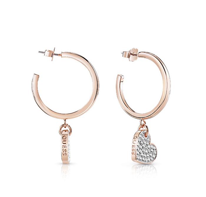 Ροζ gold σκουλαρίκια Guess με καρδιές πετράτες UBE84083 UBE84083 Ορείχαλκος