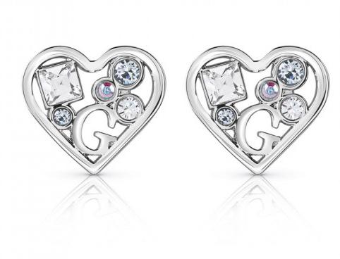 Guess σκουλαρίκια καρδιές με πέτρες ζιργκόν UBE84110 UBE84110 Ορείχαλκος