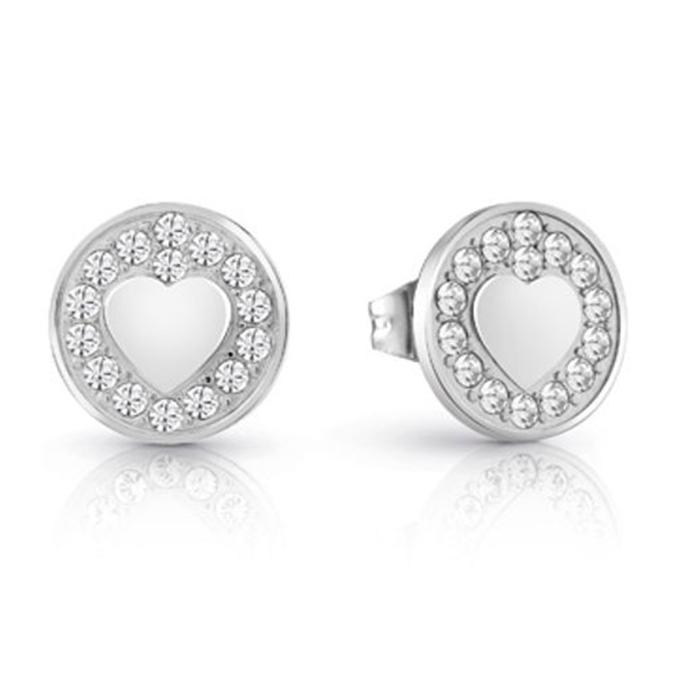 Guess σκουλαρίκια καρδιές με πέτρες UBE85012 UBE85012 Ορείχαλκος fashion jewels guess σκουλαρίκια