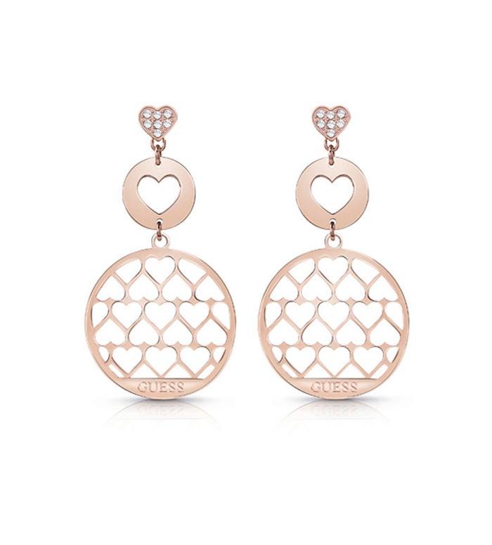Guess κρεμαστά ροζ gold σκουλαρίκια καρδιές UBE85017 UBE85017 Ορείχαλκος