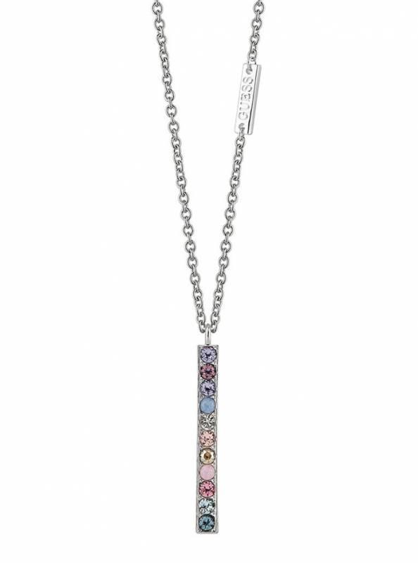 Γυναικείο Guess κολιέ με πολύχρωμες ζιργκόν πέτρες UBN83054 UBN83054 Ορείχαλκος