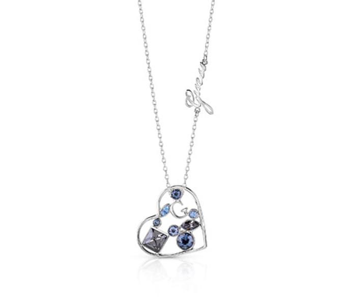 Guess κολιέ με καρδιά με μπλε πέτρες UBN84065 UBN84065 Ορείχαλκος fashion jewels guess κολιέ
