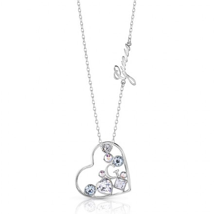 Guess κολιέ καρδιά με πέτρες ζιργκόν UBN84067 UBN84067 Ορείχαλκος fashion jewels guess κολιέ