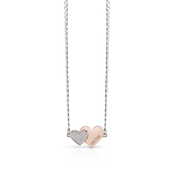 Δίχρωμο κολιέ με καρδιές Guess UBN84076 UBN84076 Ορείχαλκος fashion jewels guess κολιέ