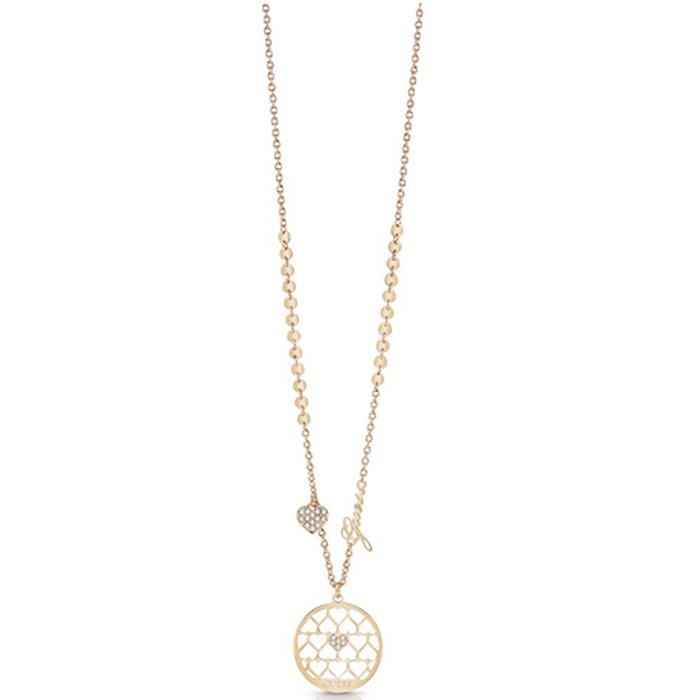 Κολιέ Guess χρυσό με καρδιές και λογότυπο UBN85020 UBN85020 Ορείχαλκος