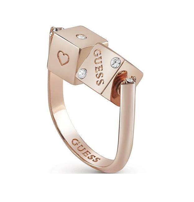 Ροζ επίχρυσο δαχτυλίδι Guess με διπλό ζάρι UBR83044-54 UBR83044-54 Ορείχαλκος