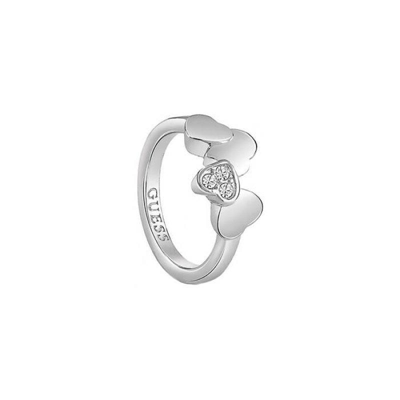 Δαχτυλίδι Guess με καρδούλες και πέτρες ζιργκόν UBR83048-54 UBR83048-54 Ορείχαλκος