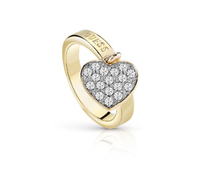 Επίχρυσο δαχτυλίδι Guess με κρεμαστή καρδούλα UBR84017-54 UBR84017-54 Ορείχαλκος