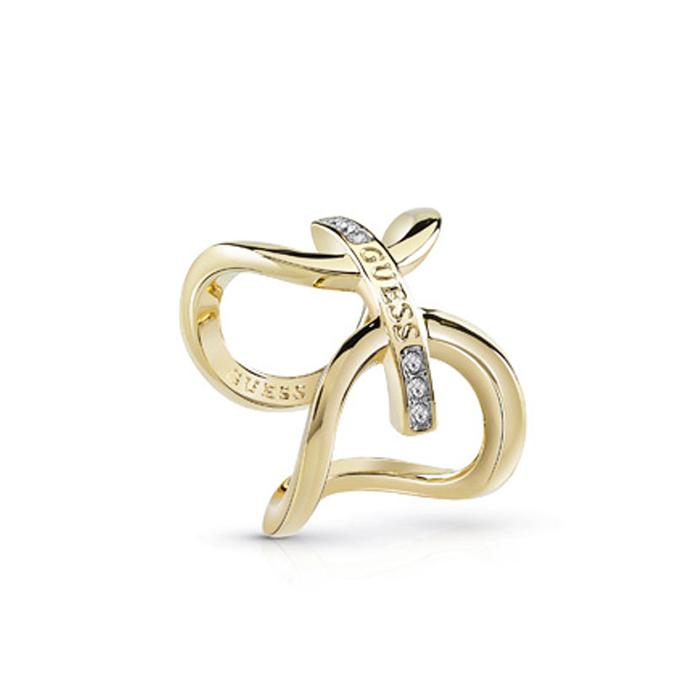 Επίχρυσο δαχτυλίδι με λογότυπο Guess UBR84046-54 UBR84046-54 Ορείχαλκος fashion jewels guess δαχτυλίδια