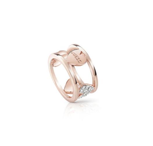 Ροζ gold δαχτυλίδι με καρδιές Guess UBR85027-54 UBR85027-54 Ορείχαλκος fashion jewels guess δαχτυλίδια