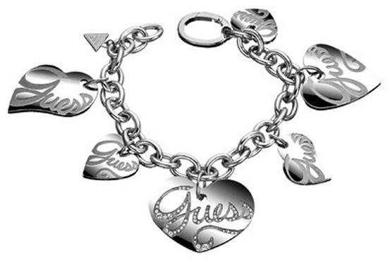ΑΤΣΑΛΙΝΟ ΒΡΑΧΙΟΛΙ GUESS ΜΕ ΚΑΡΔΟΥΛΕΣ USB80901 Ατσάλι fashion jewels guess bραχιόλια