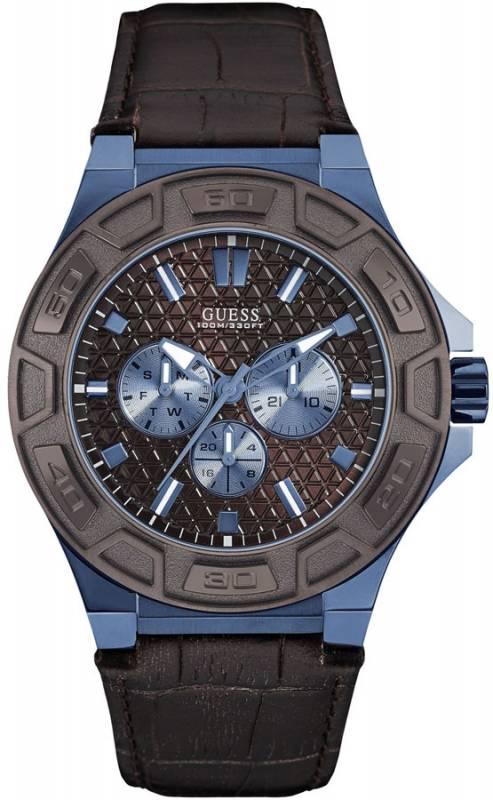 Ανδρικό ρολόι GUESS Brown Leather Chronograph W0674G5 W0674G5 Ατσάλι