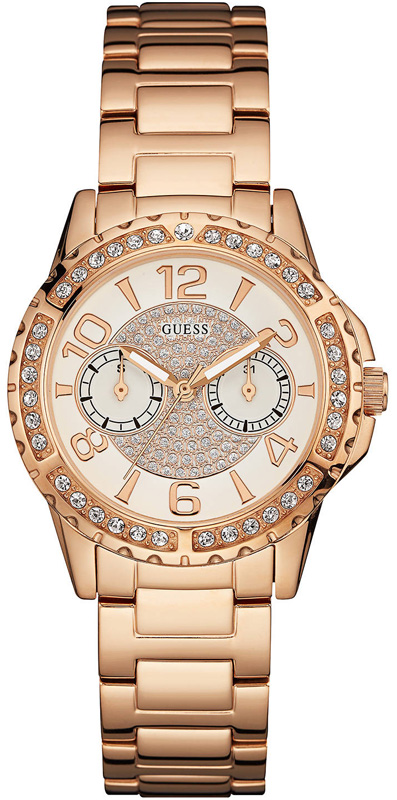 Γυναικείο ρολόι ροζ επίχρυσο Guess W0705L3 W0705L3 Ατσάλι ρολόγια guess
