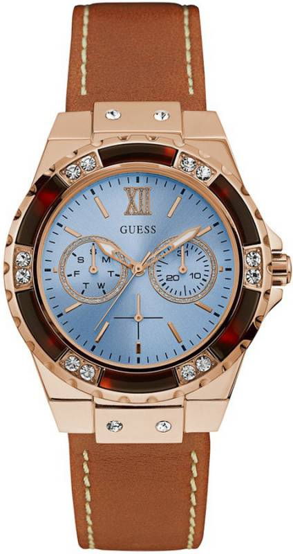 Guess Limelight Crystals Multifunction Brown Leather Strap W0775L7 W0775L7 Ατσάλι