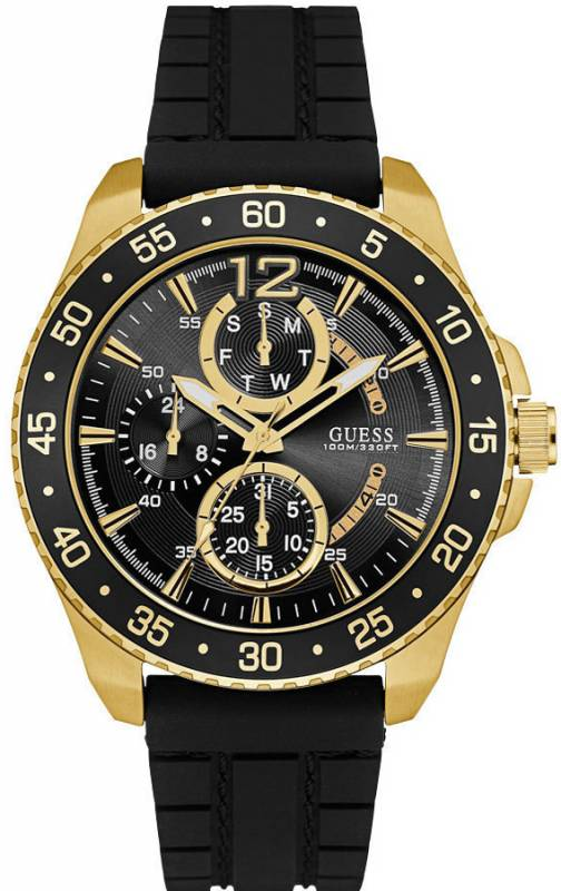 Ρολόι GUESS Multifunction Gold Black Rubber Strap W0798G3 W0798G3 Ατσάλι