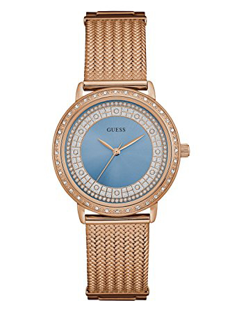 Guess ρολόι ροζ gold με σιέλ καντράν και πέτρες W0836L1 W0836L1 Ατσάλι