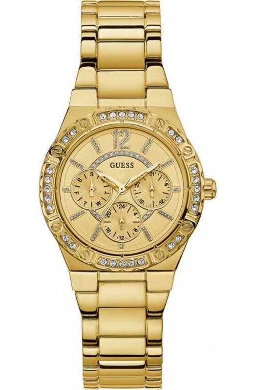 Γυναικείο ρολόι κίτρινο επίχρυσο Guess με πέτρες W0845L2 W0845L2 Ατσάλι ρολόγια guess
