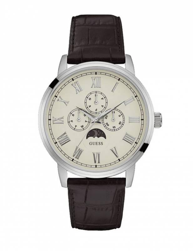 Ανδρικό ρολόι Guess με καφέ δερμάτινο λουράκι W0870G1 W0870G1 Ατσάλι
