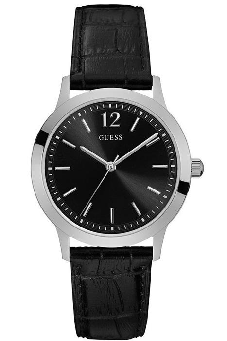 Ρολόι Guess με μαύρο δερμάτινο λουράκι W0922G1 W0922G1 Ατσάλι