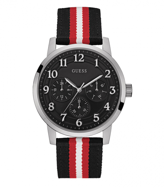 Ανδρικό μαύρο ρολόι Guess με τρίχρωμο λουράκι W0975G1 W0975G1 Ατσάλι