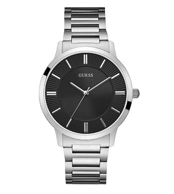 Ανδρικό ρολόι Guess με μπρασελέ και μαύρο καντράν W0990G1 W0990G1 Ατσάλι ρολόγια guess
