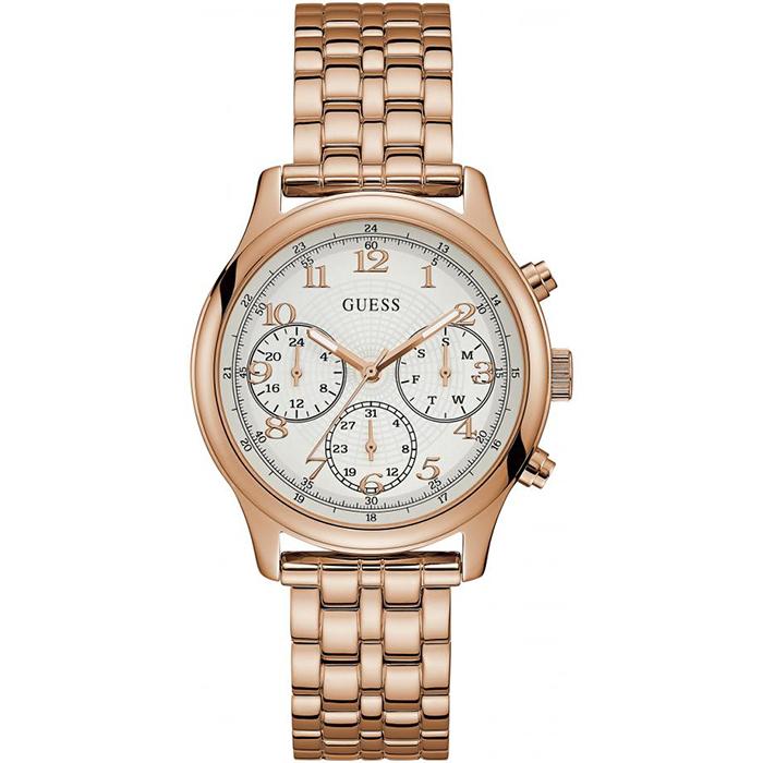 Γυναικείο ροζ επίχρυσο ρολόι Guess με χρονογράφους W1018L3 W1018L3 Ατσάλι