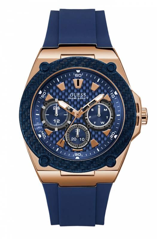 Μπλε ανδρικό ρολόι Guess με καουτσούκ λουράκι W1049G2 W1049G2 Ατσάλι
