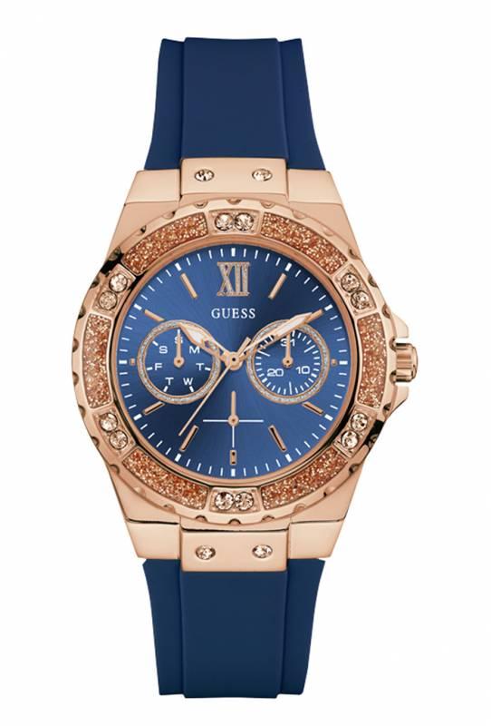 Ροζ gold ρολόι Guess με πέτρες και μπλε λουράκι W1053L1 W1053L1 Ατσάλι