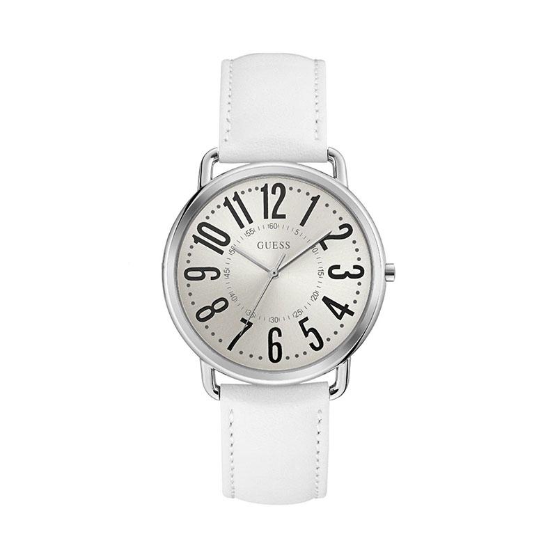 Ρολόι Guess Quartz Silver White Leather W1068L1 W1068L1 Ατσάλι
