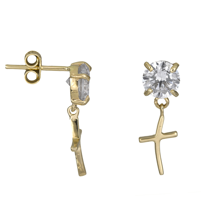 Xρυσά Σκουλαρίκια Κ14 με ζιργκόν και σταυρό 000977 000977 Χρυσός 14 Καράτια
