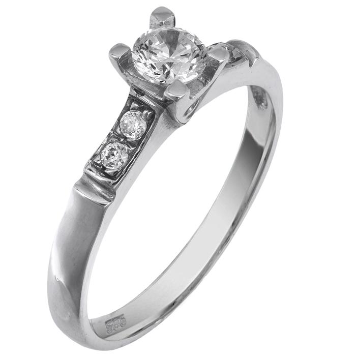 Μονόπετρο λευκόχρυσο δαχτυλίδι 14K 001934 Χρυσός 14 Καράτια