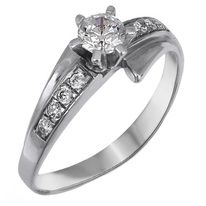 Μονόπετρο λευκόχρυσο δαχτυλίδι Κ 14 001943 001943 Χρυσός 14 Καράτια