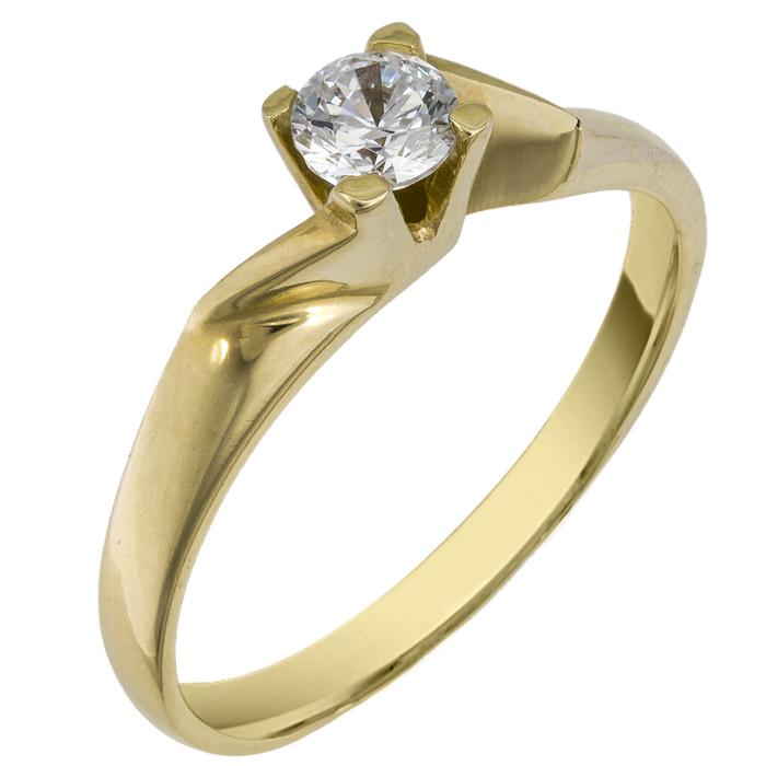 Χρυσό μονόπετρο δαχτυλίδι 14 K 002087 Χρυσός 14 Καράτια