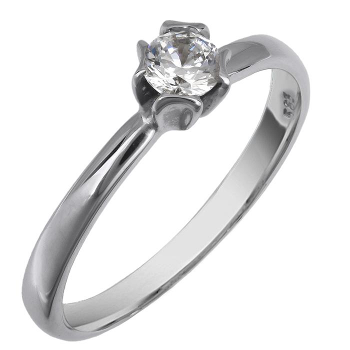 Λευκόχρυσο μονόπετρο δαχτυλίδι 14K 002090 002090 Χρυσός 14 Καράτια