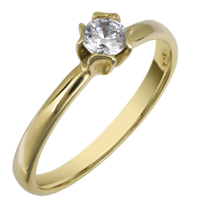 Χρυσό μονόπετρο δαχτυλίδι 14Κ 002091 Χρυσός 14 Καράτια