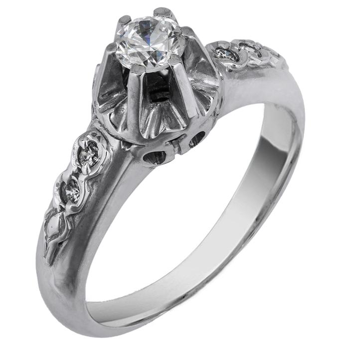 Μονόπετρο λευκόχρυσο δαχτυλίδι 14 Κ 002145 002145 Χρυσός 14 Καράτια