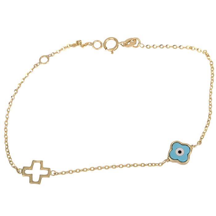 Χρυσό βραχιόλι Κ14 με σταυρό και ματάκι 002285 002285 Χρυσός 14 Καράτια