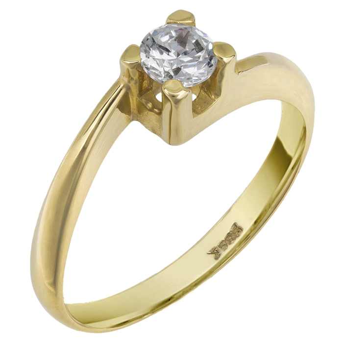 Χρυσό μονόπετρο δαχτυλίδι 14Κ 002597 Χρυσός 14 Καράτια