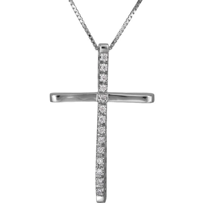 Βαπτιστικοί Σταυροί με Αλυσίδα Λευκόχρυσος σταυρός με διαμάντια Κ18 011712 011712 Γυναικείο Χρυσός 18 Καράτια