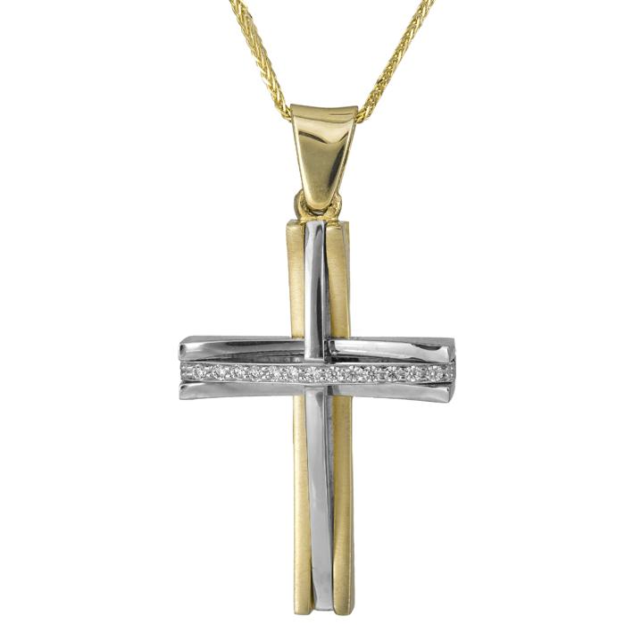 Βαπτιστικοί Σταυροί με Αλυσίδα Σταυρός δίχρωμος με αλυσίδα 14Κ 012184C Γυναικείο Χρυσός 14 Καράτια