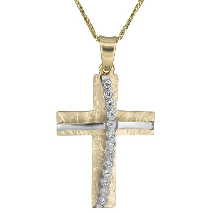 Βαπτιστικοί Σταυροί με Αλυσίδα Δίχρωμος σταυρός 14Κ με καδένα 012289C Γυναικείο Χρυσός 14 Καράτια