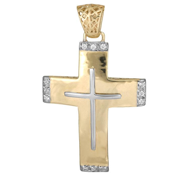Σταυροί Βάπτισης - Αρραβώνα Δίχρωμος Σταυρός 14K με Πέτρες 014714 Γυναικείο Χρυσός 14 Καράτια