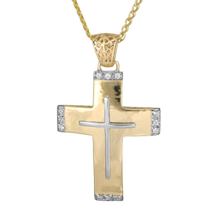 Βαπτιστικοί Σταυροί με Αλυσίδα Δίχρωμος γυναικείος σταυρός Κ14 014714C Γυναικείο Χρυσός 14 Καράτια