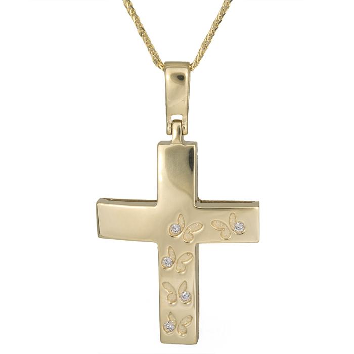 Βαπτιστικοί Σταυροί με Αλυσίδα Σταυρός με πεταλούδες σε αλυσίδα χρυσός Κ14 015268C 015268C Γυναικείο Χρυσός 14 Καράτια