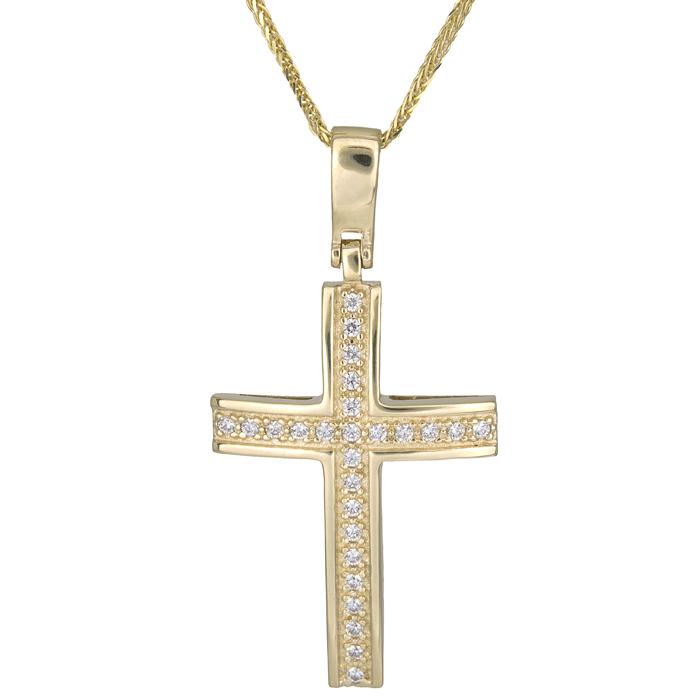 Βαπτιστικοί Σταυροί με Αλυσίδα Γυναικείος σταυρός από χρυσό c017410 017410C Γυναικείο Χρυσός 14 Καράτια