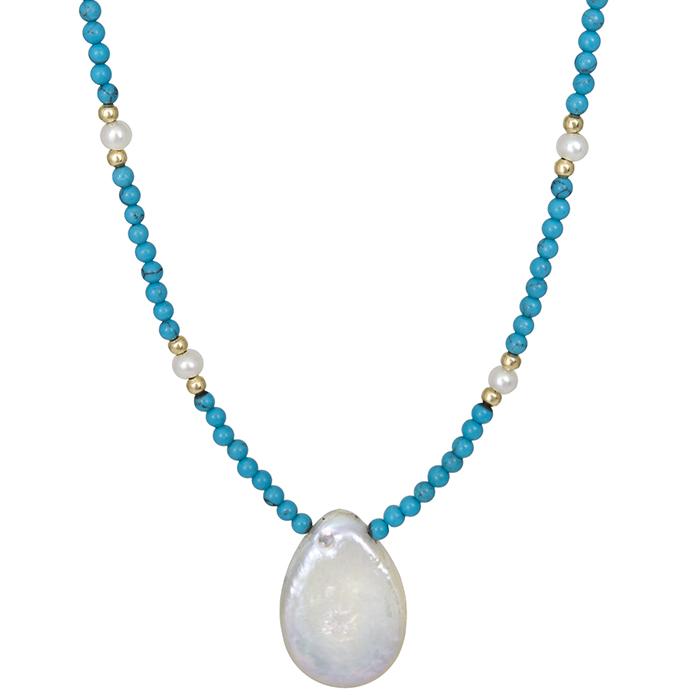 Κολιέ με μαργαριτάρι και τυρκουάζ πέτρες 022110 022110 Χρυσός 14 Καράτια