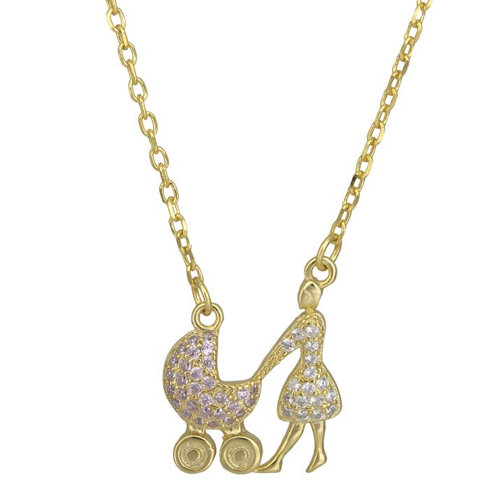 Γυναικείο επίχρυσο κολιέ 925 ροζ πετράτο καροτσάκι 025629 025629 Ασήμι