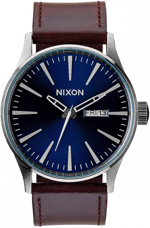 Ρολόι Nixon Sentry Brown Leather Strap A105-1524-00 A105-1524-00 Ατσάλι
