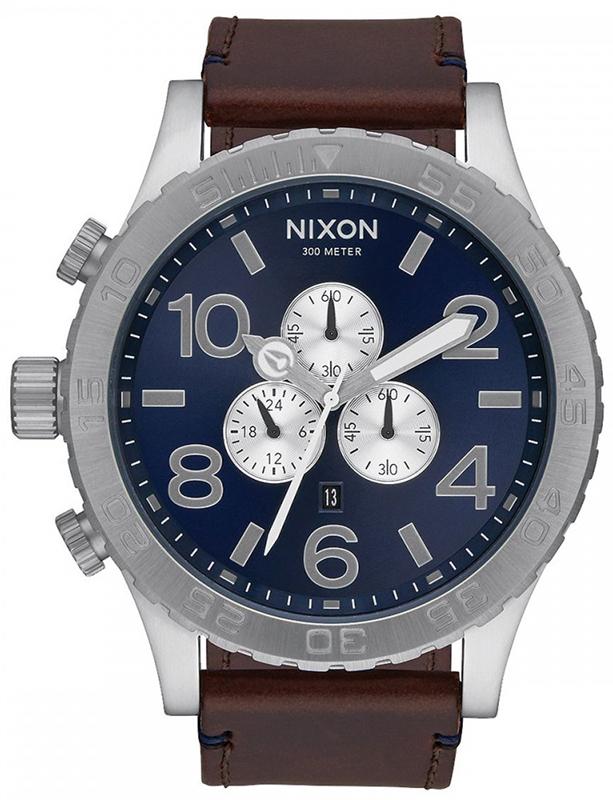 Αντρικό ρολόι Nixon 51-30 Chrono Leather Strap A124-2301-00 A124-2301-00 Ατσάλι